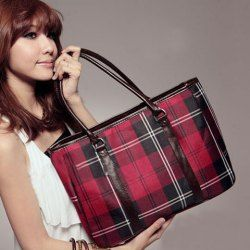 Wholesale New Arrival Casual and Delicate Red Checked Canvas Bag For Women (RED), Shoulder Bags - Rosewholesale.com