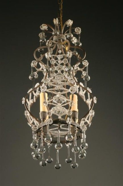 Four light bronze and crystal Italian antique chandelier. #antique #bronze  #crystal # - 146 Best Antique Chandeliers Images On Pinterest Antique