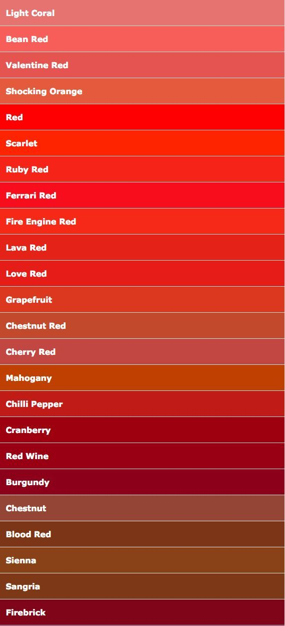 Color Names Red In 2020 Red Color Names Red Colour Palette Shades Of Red Color