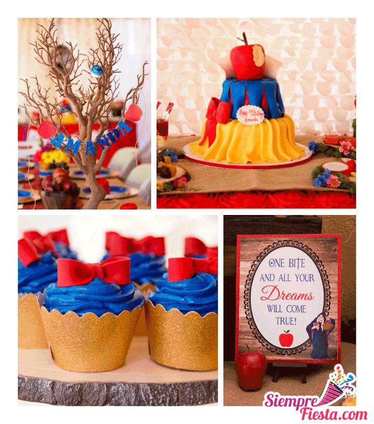 Increíbles ideas para una fiesta de cumpleaños de Blancanieves. Encuentra todos los artículos para tu fiesta en nuestra tienda en línea: http://www.siemprefiesta.com/fiestas-infantiles/ninas/articulos-blancanieves.html?limit=all&utm_source=Pinterest&utm_medium=Pin&utm_campaign=Blancanieves