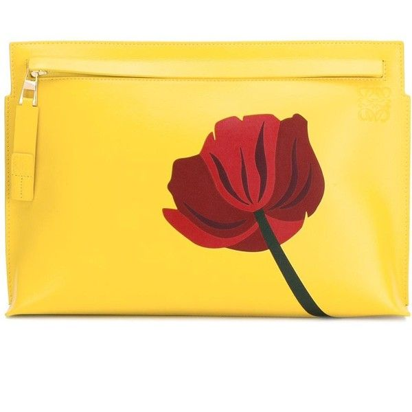 Loewe flower print clutch bag found on Polyvore featuring bags, handbags, clutches, purses, yellow, flower print handbags, floral purse, yellow purse, loewe and yellow hand bags