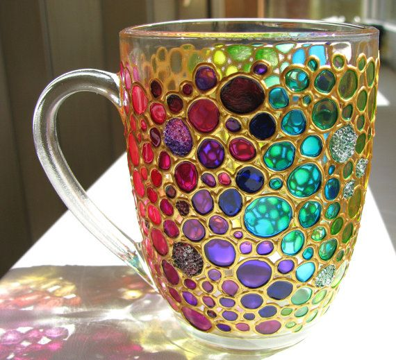 Rainbow Bubbles Coffee Mug Sun Catcher Hand Painted Multi Coloured Bubbles  Mug Painted Glass Mug