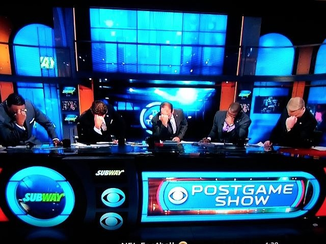 """Post game show hosts """"Tebowing"""" after the Broncos-Steelers game  : )"""