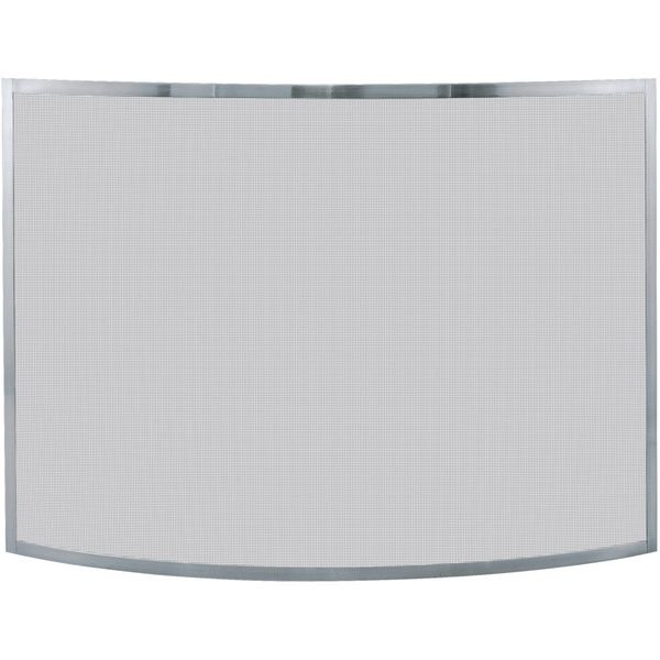 UF Curved Pewter Screen silver minimalist fireplace screen