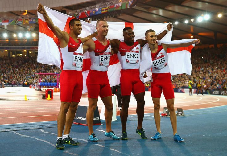 Silver medalists Adam Gemili, Harry Aikines-Aryeetey, Richard Kilty and Danny Talbot of England