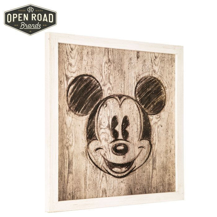 Mickey mouse rustic framed wood wall decor⎢open road brands
