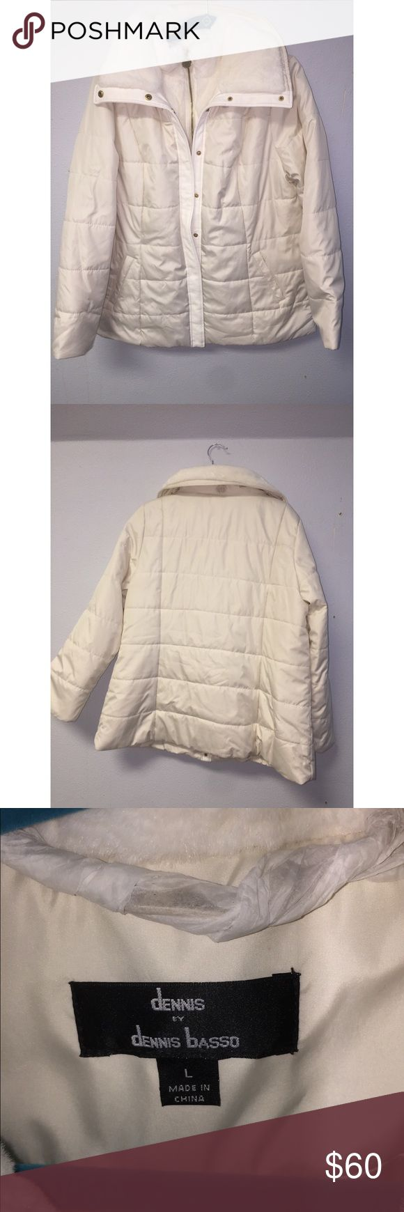 Dennis Basso | White Hooded Puffer Jacket Fur Hooded puffer jacket with fur from Dennis Basso NWOT, still can see the paper wrap around hanger. It's too big for me, just want it out of my closet! No wear whatsoever! I love bundles and offers! Dennis Basso Jackets & Coats Puffers