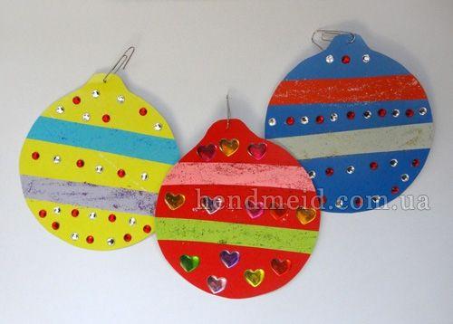 Новогодние шары из картона и цветной бумаги