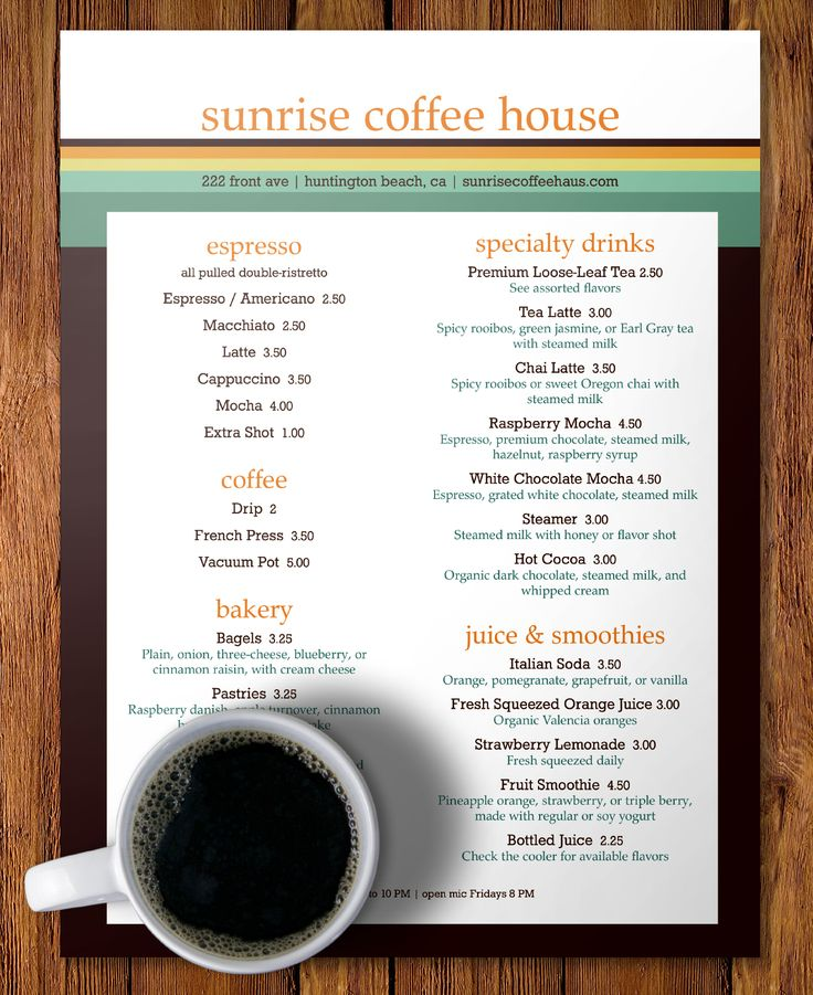 Best Caf  Coffee House Images On   Menu Templates