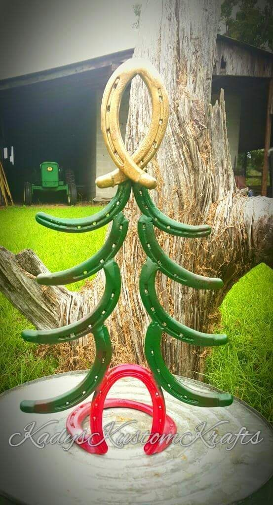 Christmas Tree, Horseshoe Christmas Tree, Rustic  Christmas Tree  by KadyKustomKrafts , $59.99 USD