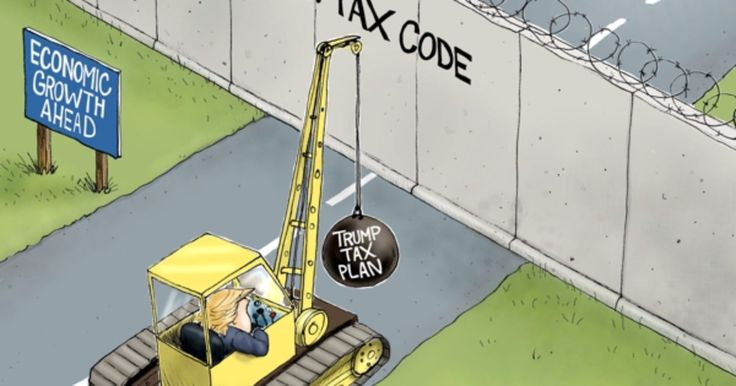 "The Current tax code is a ""Yhuge"" obstacle to economic growth and prosperity. Trumps tax plan would ""tear down this wall"". Cartoon A.F. Branco ©2017"