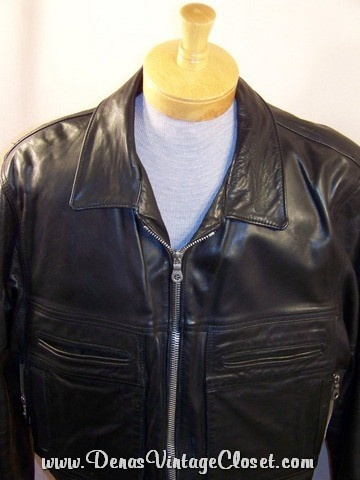 Vintage Black Leather Motorcycle Police Jacket  $77