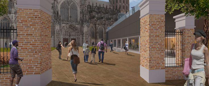 Voorgestelde bouwmassa renovatie en uitbreiding StJansmuseum 's-Hertogenbosch.