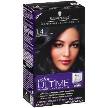 Schwarzkopf Color Ultime Magnificent Blacks Hair Coloring Kit, 1.4 Sapphire Black, Multicolor