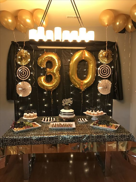 GOLD GOLD GOLD Happy 30 Birthday party tables, Birthday table decorations, 30th birthday