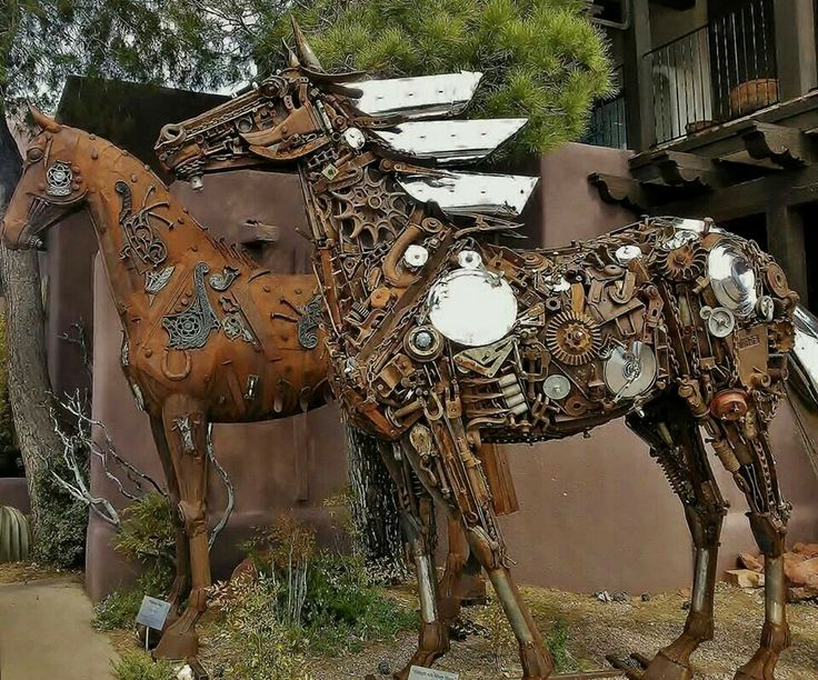 Metal horse sculptures