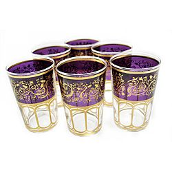 @Overstock.com - Originally Moroccan glasses were used for tea, but the use of Moroccan tea glasses has adapted not only for drinking tea, but use as votive candle holders and much more. These Moroccan tea glasses are hand-painted and feature a purple and gold trim.http://www.overstock.com/Worldstock-Fair-Trade/Set-of-6-Mek-Purple-Tea-Glasses-Morocco/6458032/product.html?CID=214117 $39.99