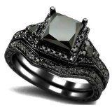 #blackdiamondengagement 2.01ct Black Princess Cut Diamond Engagement Ring Wedding Set 14k Black Gold by Front Jewelers - See more at: http://blackdiamondgemstone.com/jewelry/wedding-anniversary/201ct-black-princess-cut-diamond-engagement-ring-wedding-set-14k-black-gold-com/