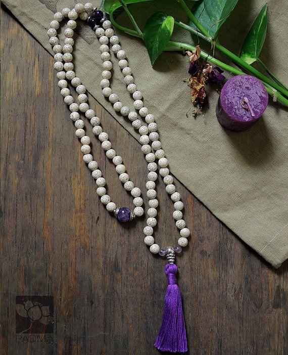 108 white lotus Bodhi Seeds Amethyst guru by PadmaZenArt on Etsy