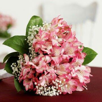 Wedding Bouquet: Pink Alstromeria, White Gypsophila & Green Foliage