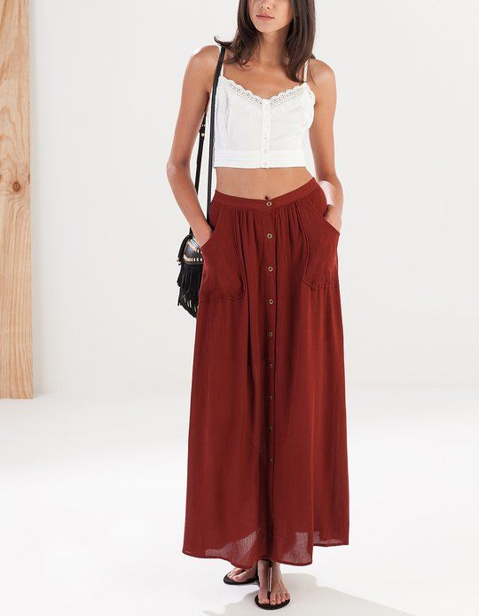 Maxi skirt with pockets - SKIRTS - WOMAN | Stradivarius Serbia