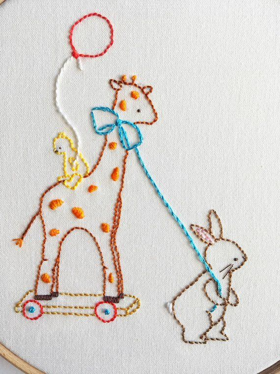 The Giraffe Ride - Hand Embroidery PDF Pattern | Embroidered items ...