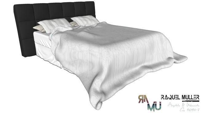 Visualização grande do modelo 3D de giường