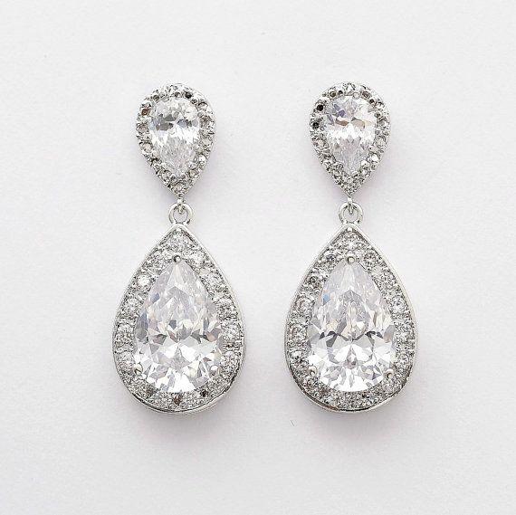 Bruiloft oorbellen Crystal bruids sieraden zilver door poetryjewelry