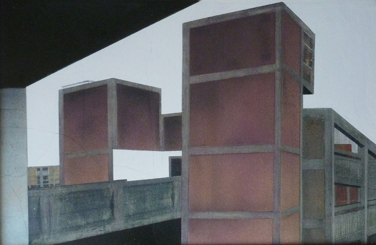 Mandy Payne, Between Places and Spaces - Failed Utopia - Aerosol on concrete. Tarpey Gallery.