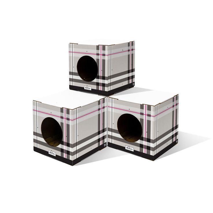 4 Pack Plaid Print Cat Box