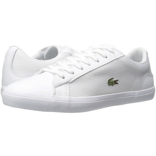 Lacoste Lerond 116 1 (White) Men's Shoes (5.440 RUB) ❤ liked on Polyvore featuring men's fashion, men's shoes, men's sneakers, mens leather lace up shoes, lacoste mens sneakers, mens white sneakers, mens white shoes and mens shoes