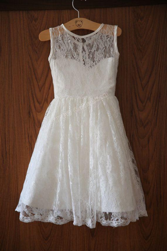 Ivory Lace Flower Girl Dress Sweetheart Neckline Knee by deepado
