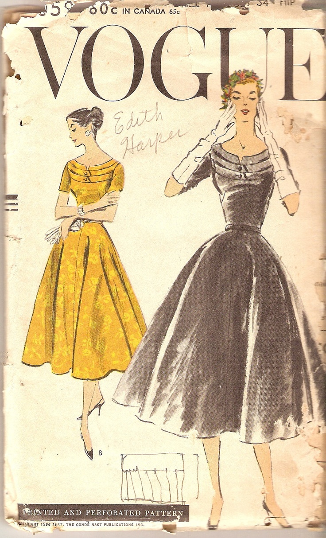 1950s Vogue Dress Pattern Cocktail Dress bust 34 Vogue 9059 complete Vintage Pattern. $30.00, via Etsy.