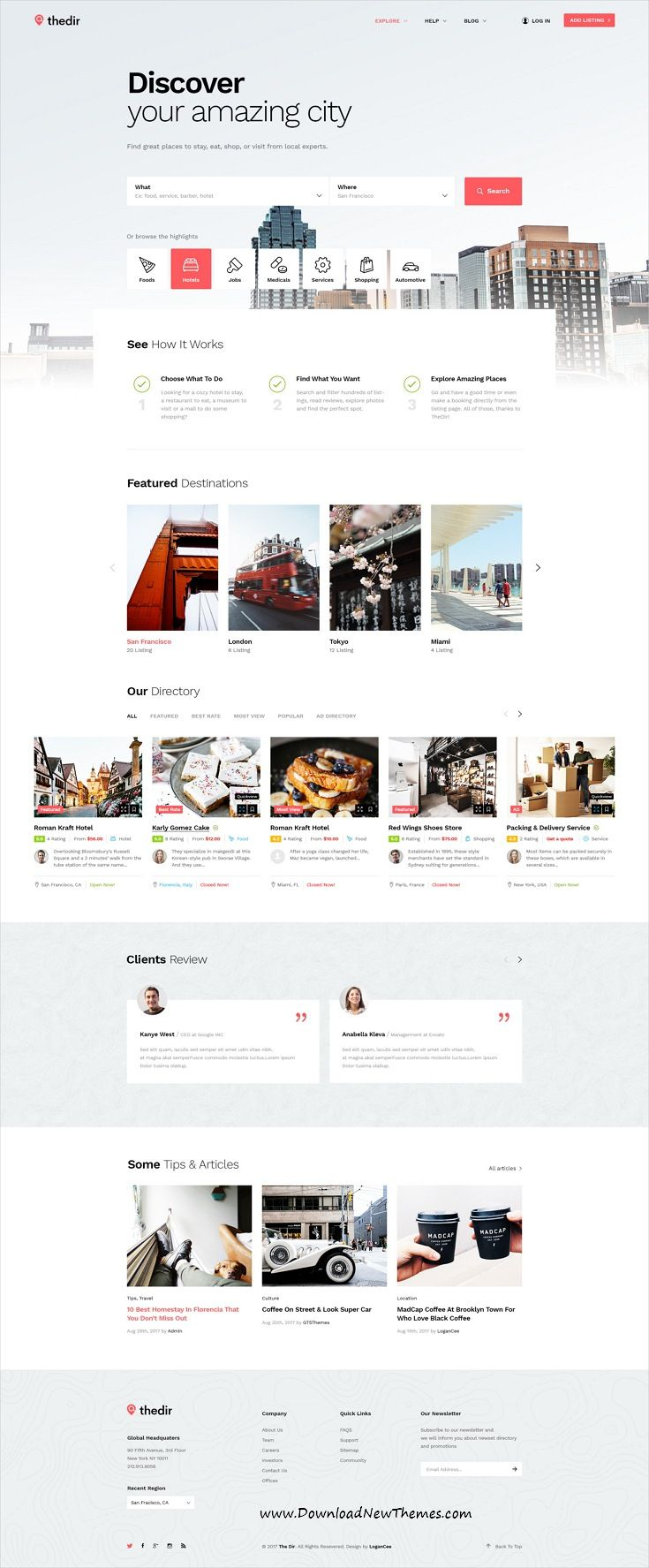 Thedir is clean and modern design #PSD template for unlimited #listing and #directory website with 23 layered PSD files to live preview & download click on Visit