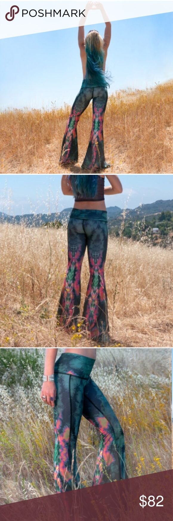 Urban Outfitters Teeki Eagle Feather Bell bottoms These yoga pants are the most eye-catching and badass yoga pants out there. I wound up wearing my first pair to festivals and food truck Fridays in the park more than practicing yoga. Perfect for the boho-chic active rocker chick. They have a high or low waist band option and I love them because they have a seamless effect that will not cut into your skin or create rolls. Brand-new with tags, this is my second pair. Rare! As seen on Carbon…
