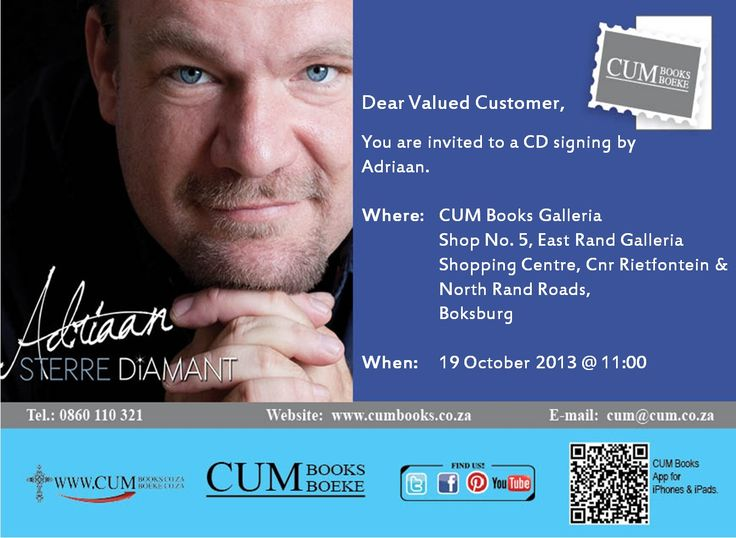 Adriaan will be at CUM Books Galleria East Rand Mall 19 Oct 11am. #SterreDiamant