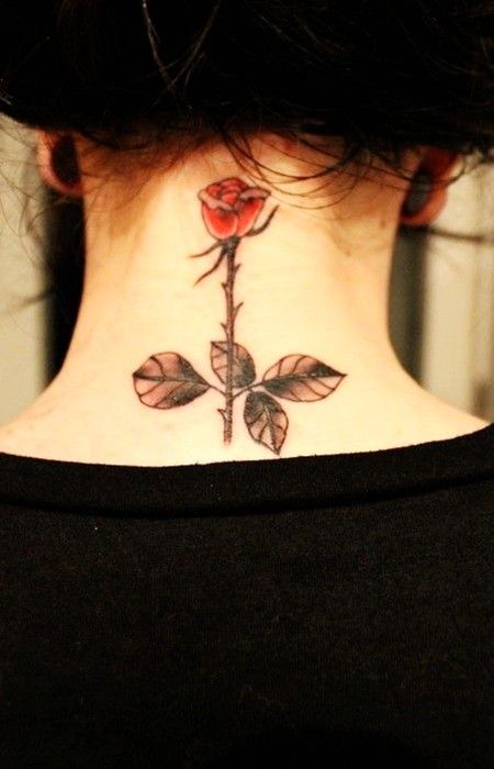 Rose watercolor tattoo on neck #rose #neck #tattoo www.loveitsomuch.com