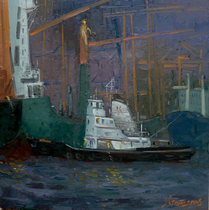 ''tug boat lights at night'' 50x50 cm oil painting by Babis Douzepis