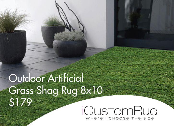 Outdoor Artificial Grass Shag Rug 8x10 Green $179