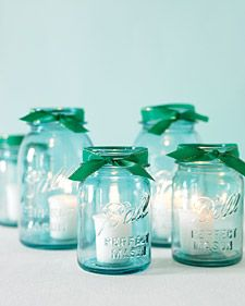 simple and chic: Blue Mason Jars, Ball Jars, Emeralds, Idea, Floating Candles, Ribbons, Candles Jars, Mason Jars Candles, Centerpieces