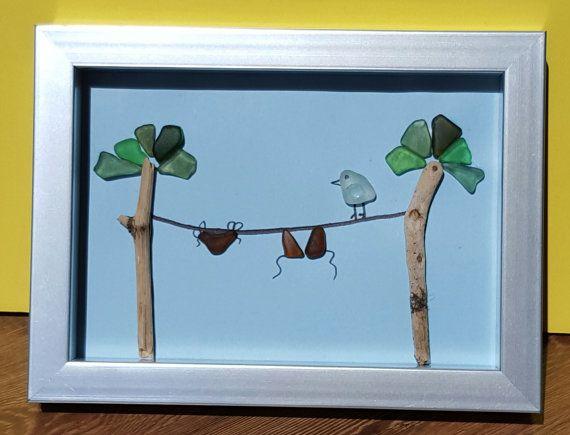 Nova Scotia Seaglass Art by SeaglassArtNS on Etsy Bird & Bikini  100% Genuine Nova Scotia Seaglass Art #art  #wallart #novascotia #novascotiaart #pebbleart