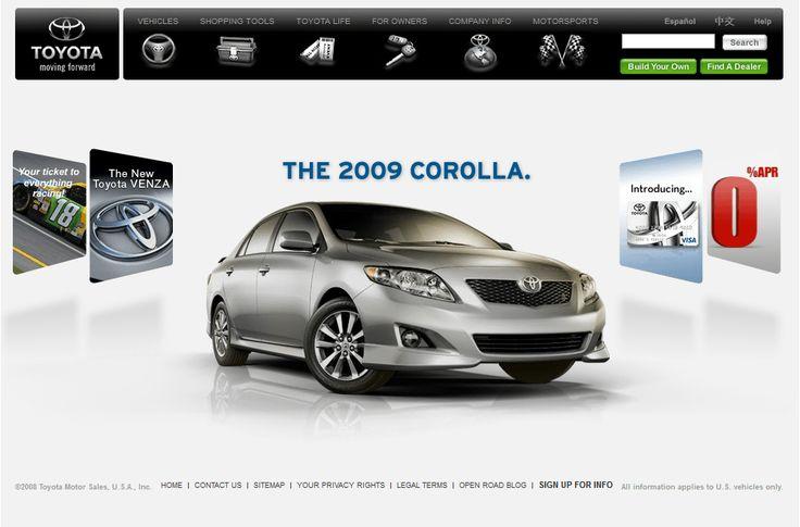 Toyota website in 2008