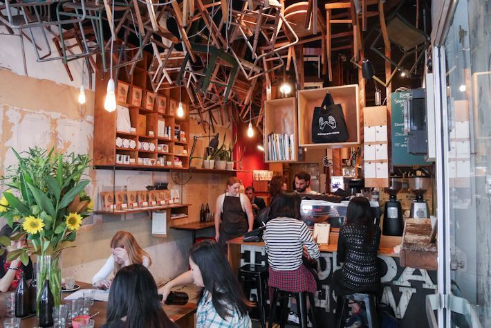 auction rooms, breakfast thieves, brother baba budan, chez dre, cumulus inc, krimper cafe, mart 130 cafe, proud mary, sensory lab, seven seeds, st ali, south of johnston, the hardware societe, the league of honest coffee, three bags full