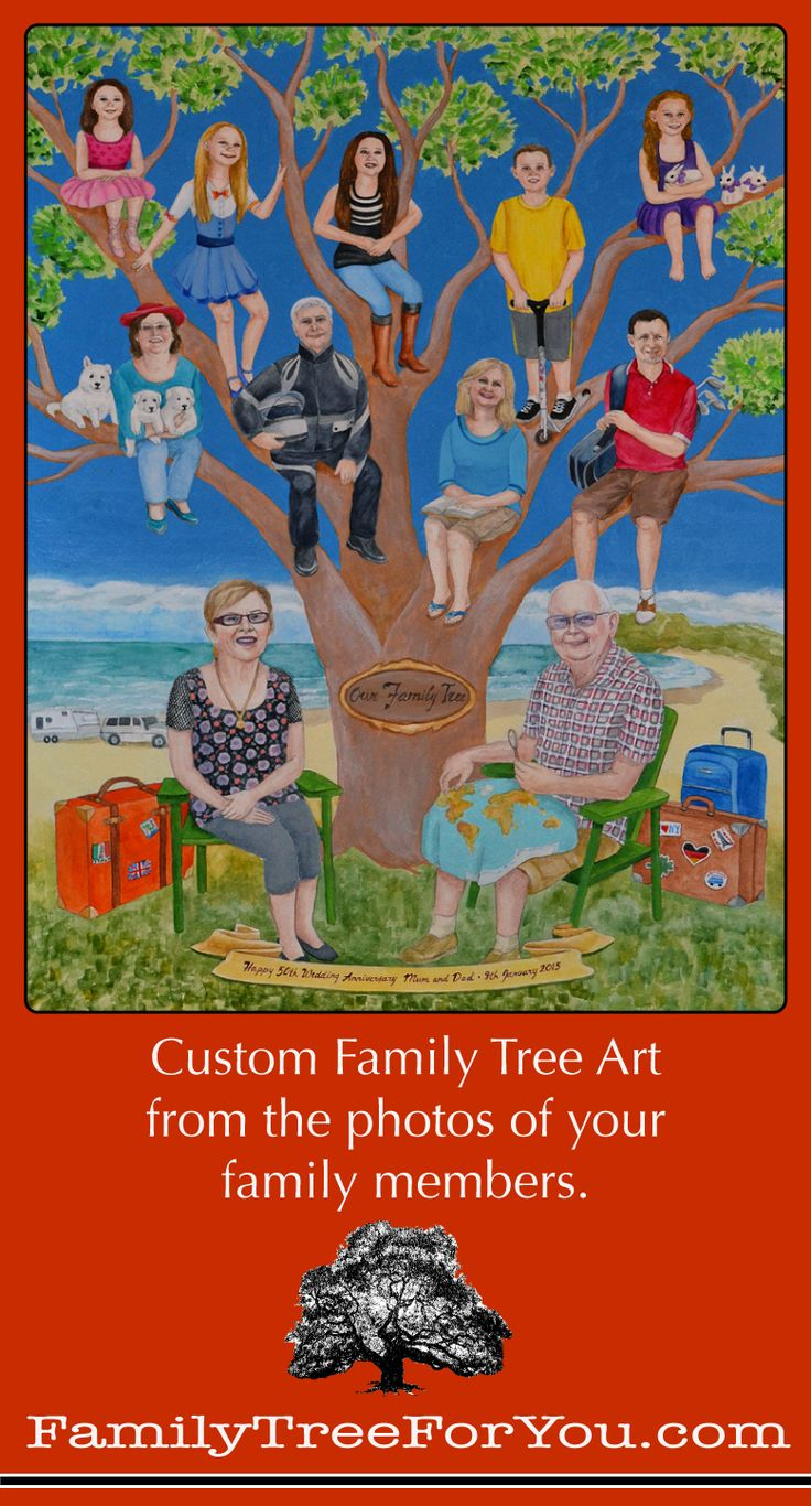 Custom family tree art painted from the photos of the family members for their parents' 50th wedding anniversary. #customfamilytree #50thweddinganniversarygiftideasforparents
