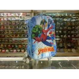 Tas Sekolah Anak Trolley Roda Import TK SD 3D Hard Cover  Spiderman