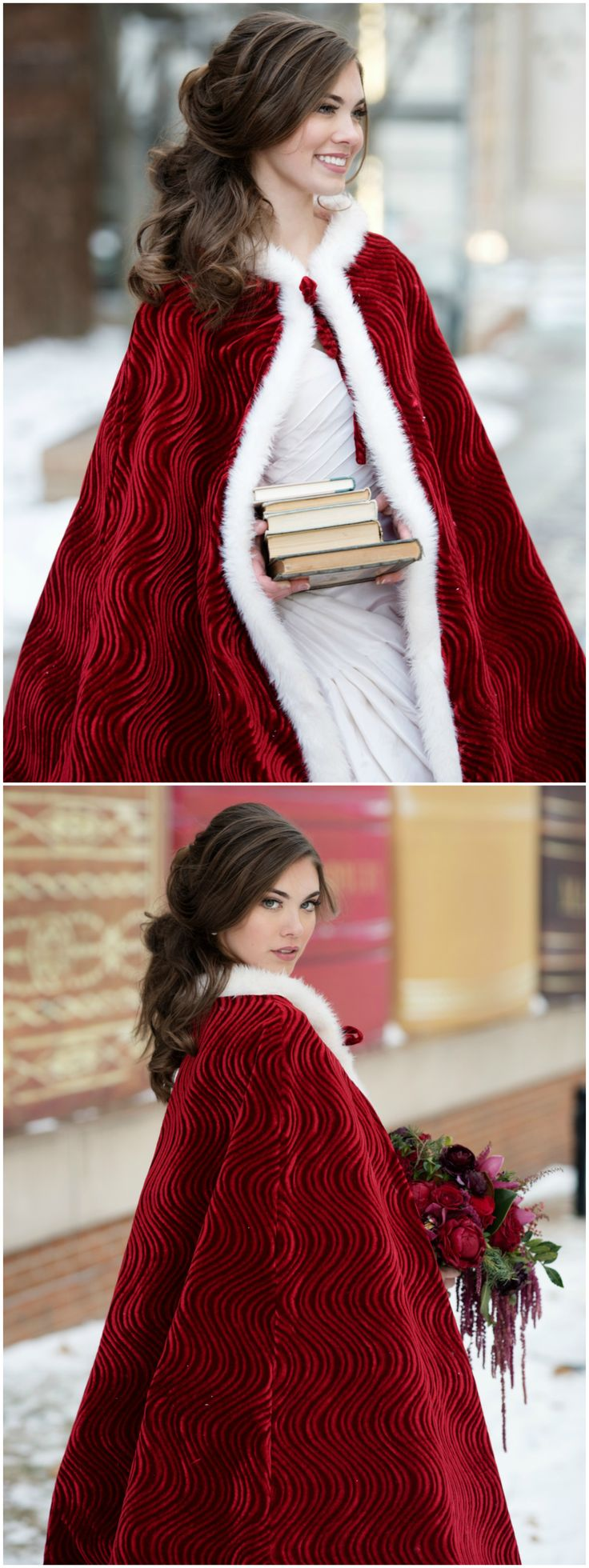 Winter wedding fashion, red velvet cloak, white fur lined cape, curly bridal hair // Melissa Sigler Photography
