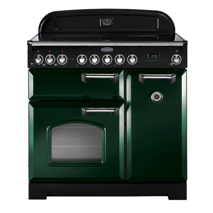 Rangemaster Cdl90ecrg C 90cm Classic Deluxe Electric Ceramic Racing Green Chrome Range Cooker Range Cooker Dual