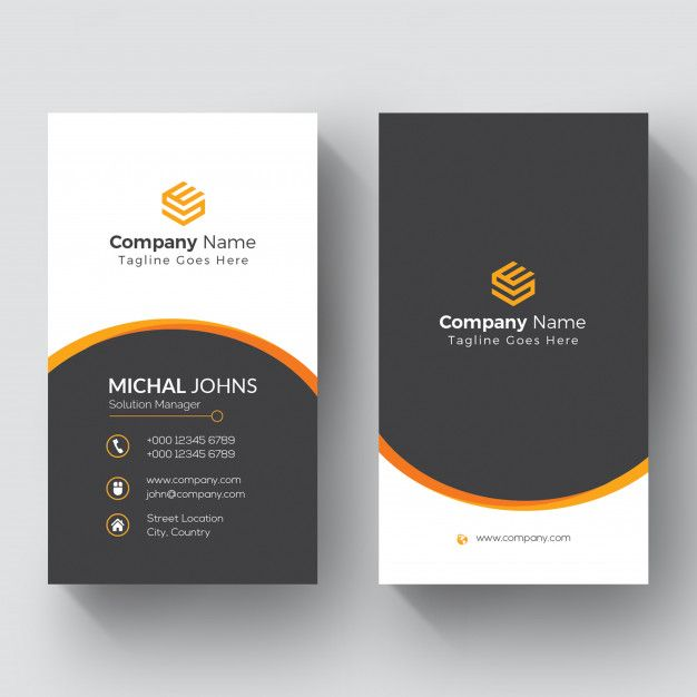 Black And White Business Card With Orange Details Printing Business Cards White Business Card Download Business Card