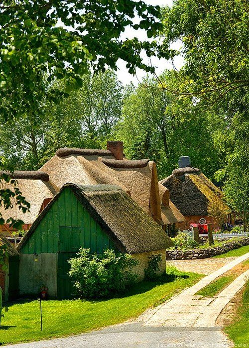 Cottages in Simonsberg Village, Schleswig-Holstein, Germany