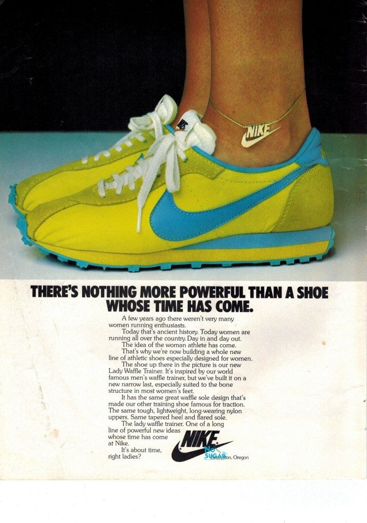 1979 US Nike advert Nike Lady Waffle Trainer and yes, Nike did actually make jewellery!